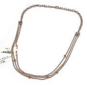 Nwt Lagos Two Tone Sterling Silver And 18k Gold Caviar 3 Row 22 Necklace