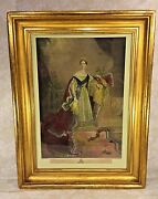 Antique Henry Sadd Engraving Of Queen Victoria Of England Great Old Gold Gilt Fr