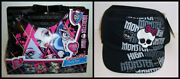 Monster High Goth Gothic Girls Shoulder Bag Purse With Puzzle Pack And Hat Cap New