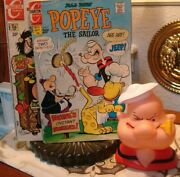 Popeye Vinyl Head Bank And 2 Comic Books July 115 And Feb 112, 1972 Editions
