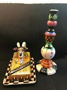 House Of Hatten Peggy Fairfax Herrick Lidded Ram Cheese Plate And Candle Holder