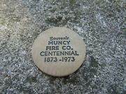 Vintage Indian Wooden Nickel- Muncy Pa- Fire Company Centennial 1873-1973
