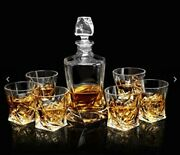 Lanfula Twisted Whiskey Glass Gift Set Of 6 Lead Free Crystal Glasses Decanter