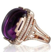 Real 14k Rose Gold Over 925 Sterling Silver Party Wear Handmade Cz Amethyst Ring