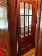 Vintage Solid Chestnut Wood Inside Door And Glass Panels Glass Knob 32andrdquox80andrdquo