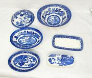 Johnson Blue Willow Cook Ware Butter Dish Covered Bowl 2 Oval Dishes