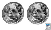 Pair 7 Inch Halogen Sealed Beam Headlights Headlamps W/ Stamped Ford Logo