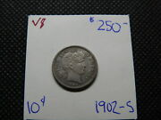 1902-s 10c Barber Dime Medium Toned Attractively Scarce Date Nice Coin