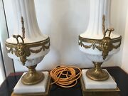 Quality Antique Pair Of Parian Lamps With Bronze / Brass Mounts And Marble Bases