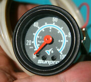 Tiny Sun Sunpro Vintage 1 5/8 Oil Pressure Gauge With Rear Light And Tubing