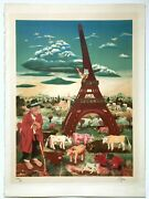 Ivan Generalic Cows Under The Eifel Tower   Tower Of Life Signed Lithograph Coa