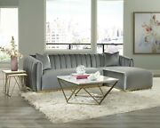Modern Art Deco Sectional Sofa With Chaise And Pillows Included Silver Velvet