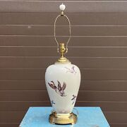 Vintage Lenox Special Table Lamp Flying Ducks Brass With Finial