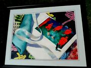 Ellen Allgaier Fountain Signed Original Watercolor Painting Ribbon With Boys