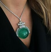 Art Deco Style 925 Sterling Silver Huge Green Cabochon Necklace Party Wear