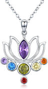 Sterling Silver Tree Of Life 7 Chakra Heart Shaped Crystals Pendant Necklace