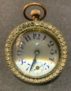 Antique New Haven Glass Ball Paperweight Desk Clock With Rhinestone Bezel