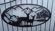 New Driveway Wrought Iron Ornamental Entrance Gate 16 Ft. Deer Country Scene