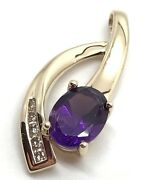 Stunning Fred Meyer Amethyst And Diamond Accent 14k Necklace Pendant Rf716