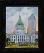 Sunset Over St.louis Courthouse Oil On Canvas By Irek T. Szelag