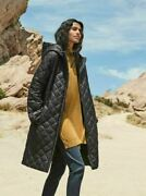 Eileen Fisher Black Quilted Hooded Recycled Nylon Coat Xs