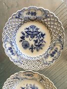 Meisen Authentic Antique Pair Blue And White Reticulated Porcelain Plates