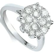 Certificated Diamond Engagement Ring Cluster 18k White Gold 1.00ct Size J - Q