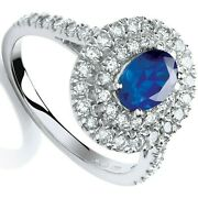 Sapphire And Diamond Ring Halo Engagement 18k White Gold Certificate Size J - Q