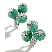 Solid 925 Sterling Silver Bead And Cz Earclips For Women Flower Design Earrings