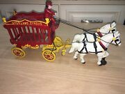 Antique Kenton Cast Iron Toy Overland Circus Wagon Horses And Driver