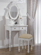Coiffeuse Avec Tabouret Betty Style Shabby Chic Blanc Vieilli Similicuir Champag