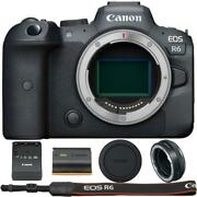 Canon Eos R6 Mirrorless Digital Camera With Control Ring Mount Adapter Ef-eos R