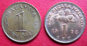 Malaysia Pair Different Design Vintage High Grade One Sen Coins 1985 And 1995