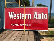 Old Western Auto Small Town Store Advertising Sign 1940and039s Era