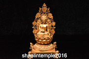 9.4 Infrequent Old China Antique Gold Plated Copper Buddha Statue
