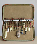 Vintage Fishing Lures Wallet With 13 Pcs. Antique Fishing Lures/spinners