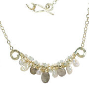 Mixed Pearls, Labradorite And Aquamarine Wrapped On Hammered Frame Necklace
