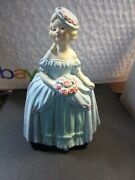 Vintage Coventry Ware Blond Woman In Blue Dress Holds Roses- Figurine 6.0 H