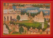 Hand Painted Old Udaipur City Detailed Miniature Art Work Paper Exquisite Colors