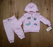 Juicy Couture Baby Girl Velour Hooded Jogging Set Pink Cupcake Rainbow