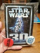 Star Wars 30 Sticker And 2 Metal Pinback Buttons, + Addl Sticker New In Package