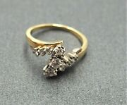 Womens 10ct Yellow And White Gold Diamond Ring Engagement Wedding Vintage