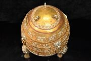 Infrequent China Bronze Gilded With Gold And Silver Color Painting Tripod Pot