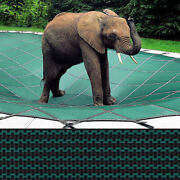 16x32 + 4x8 Loop-loc Green Mesh Pool Cover W/ 1and039 Offset Left Step - Llm1089