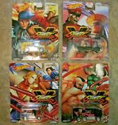 Lot Of 4 Street Fighter Capcom Hot Wheels Real Riders Cars Collectible New