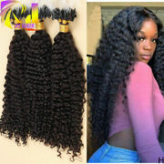 Kinky Curly Micro Loop Ring Beads Human Hair Extension Long Curly Hair 100g 100s