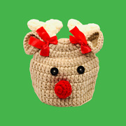 Knitted Hat Rudolph Reindeer Crochet Hat Outdoor Small Christmas Holiday