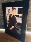 Authentic Justin Bieber Framed Autograph And Collectible Clothing Piece