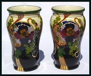 Hard To Find Pair Of Extremely Large Gouda Juliana Ivora Vases Circa 1920
