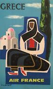 And039grece Air Franceand039 Guy Georget Mid 20th Century Original Vintage Travel Poster